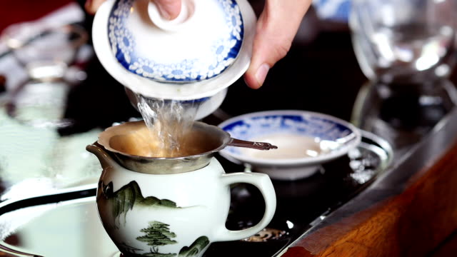 Chinese tea making ceremony video