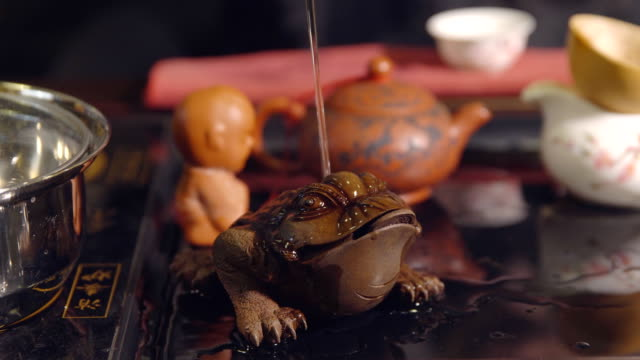 chinese traditions. toad in the tea ceremony - teapot stock videos & royalty-free footage