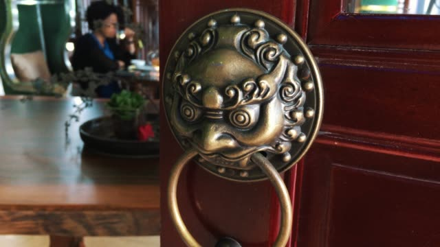 Chinese wood door with lion knocker