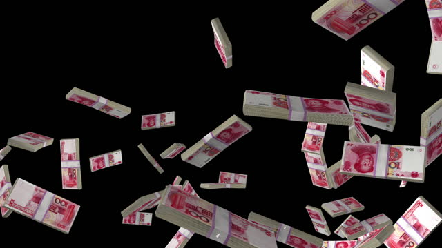 Chinese Yuan currency stack flying in slow motion, Luma Matte