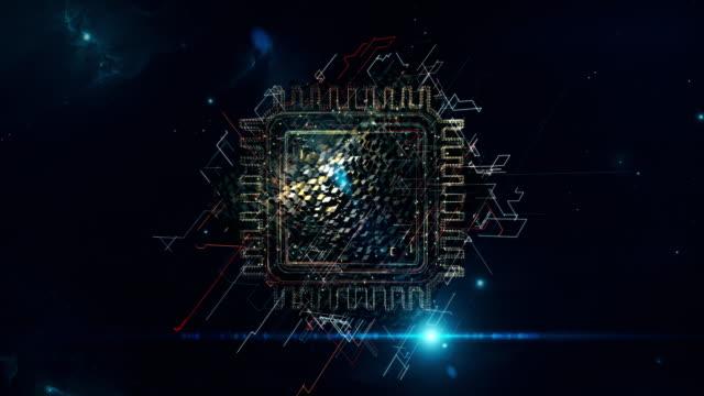 vídeos y material grabado en eventos de stock de chip matrix cubo - placa madre