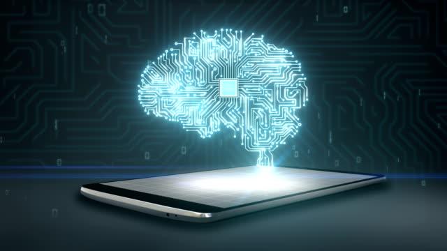 cpu-chip-form des gehirns auf smartphone, mobile, künstliche intelligenz - innerhalb stock-videos und b-roll-filmmaterial