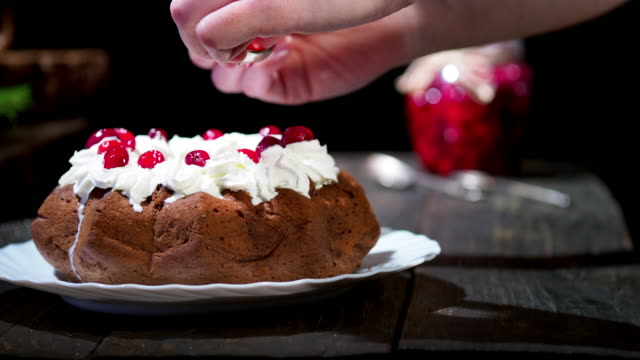 chocolate christmas bundt cake - desserts stock videos and b-roll footage