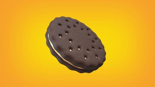 vídeos y material grabado en eventos de stock de galleta de chocolate con lazo de animación crema. se proporciona luma matte para extraer la cookie. - galleta dulces