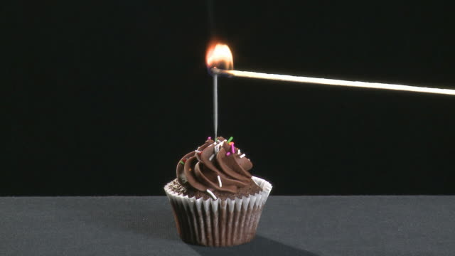Chocolate cupcake with a sparkler video