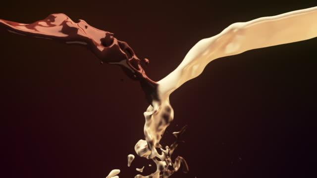 chocolate milk mixing - chocolate stok videoları ve detay görüntü çekimi
