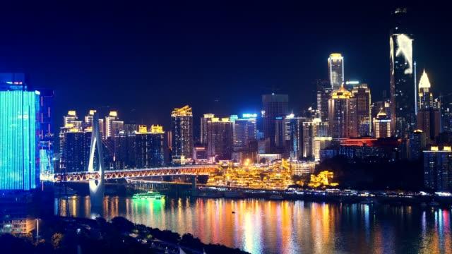 vídeos y material grabado en eventos de stock de noche de chongqing, china - río yangtsé