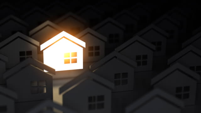 Choosing the right real estate property. Unique lighting house sign in group of houses. 3d animation