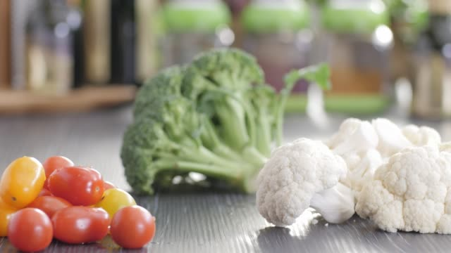 raw food. chop vegetables.healthy food. colorful cuisine - broccolo video stock e b–roll