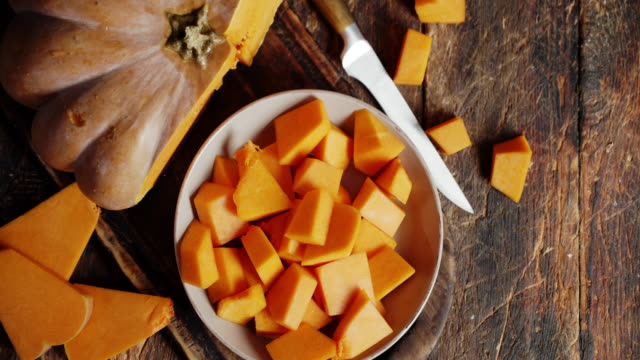 Chopped pieces of ripe pumpkin on the plate.