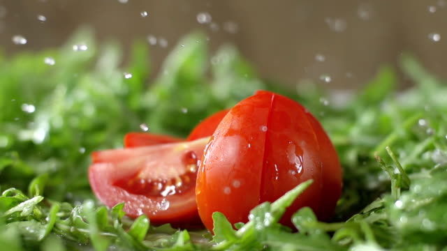 SLO MO Chopped Tomato Splashing Drops video