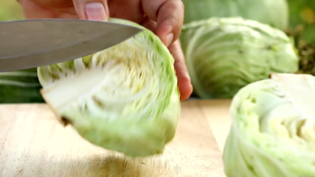 chopping  cabbage  on board video