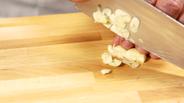 Chopping Garlic - slow mo