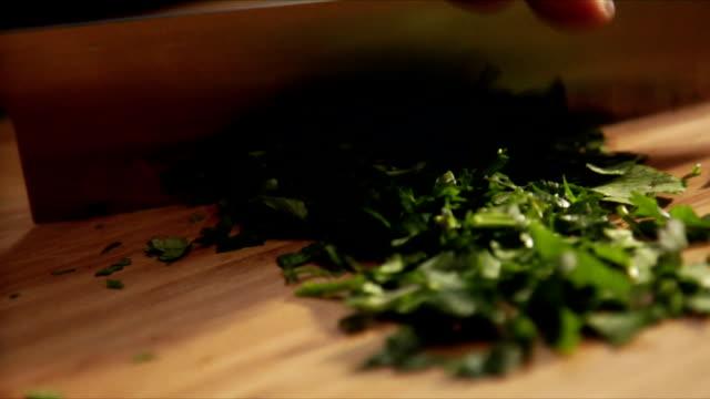 chopping Italian parsley video
