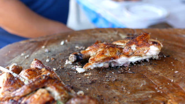Chopping Roasted Chicken, Street Food, Thailand video