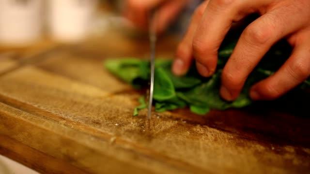 chopping spinach - basilika ört bildbanksvideor och videomaterial från bakom kulisserna