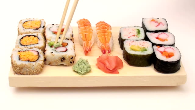 Chopsticks and sushi video