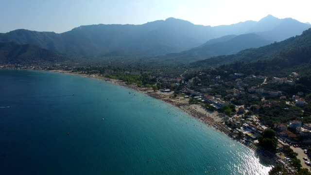 Chrissi Ammoudia Beach in Thassos, Greece, drone flight Chrissi Ammoudia Beach in Thassos, Greece, drone flight greek islands stock videos & royalty-free footage
