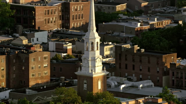 AERIAL Christ Church, Philadelphia, PA Aerial shot of the Christ Church in Philadelphia, Pennsylvania. Shot in USA. church architecture stock videos & royalty-free footage