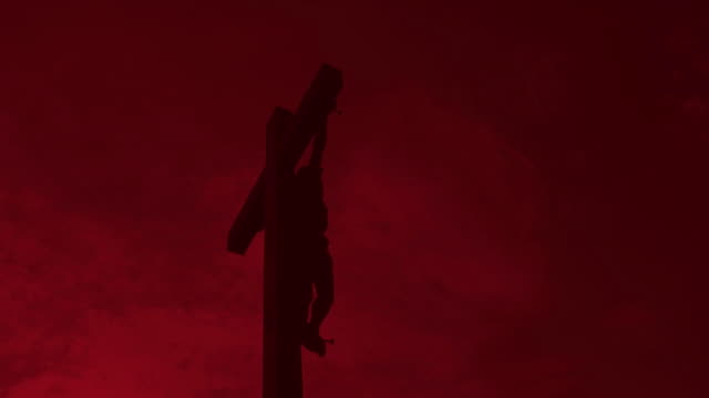 Christ Cross Against Red Sky Time Lapse video