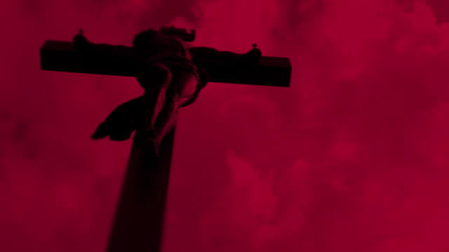 Christ Cross Against Red Sky (Time Lapse)
