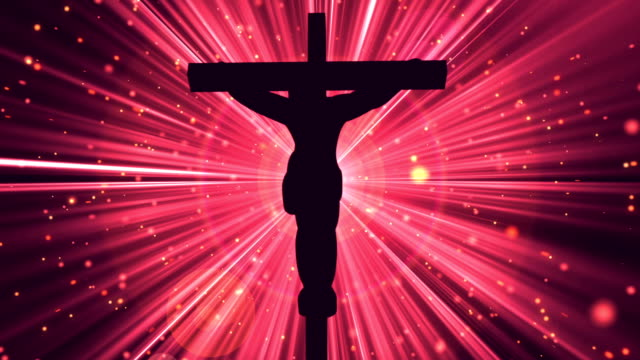Christ on Cross Divine Red-Worship Loopable Background video