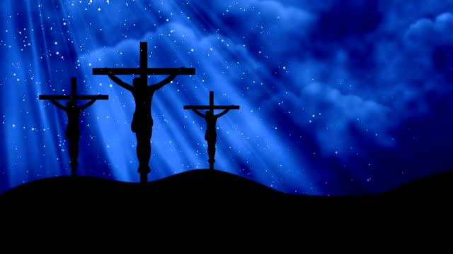 Christ on Three Crosses Blue-Worship Loopable Background video