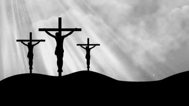christus auf drei kreuze grau-gottesdienst endlos wiederholbar hintergrund - kommunion stock-videos und b-roll-filmmaterial