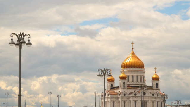Christ the Savior Cathedral on a background of clouds video