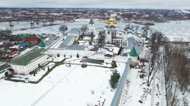 Christial monastery in winter - aerial view video