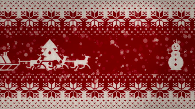 christmas 2d animation på en stickad textur. loopande animation. - christmas background bildbanksvideor och videomaterial från bakom kulisserna