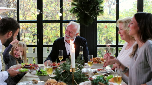 christmas always brings family together - pranzo di natale video stock e b–roll