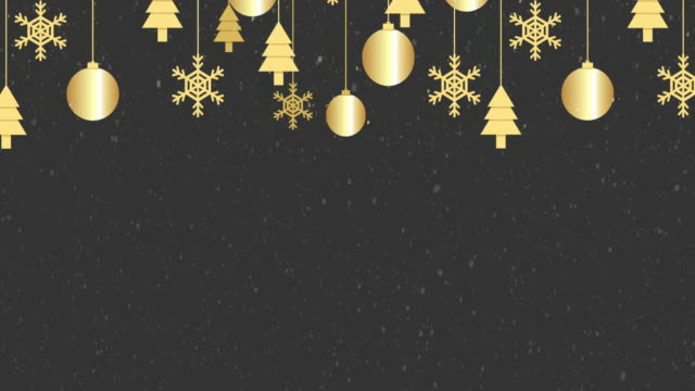 Christmas and Happy New Year greeting card animation. Blank textured banner with realistic snowfall. Backdrop template for display of product or design.