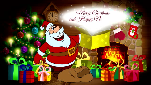 Christmas and New Year animated card with Santa Claus video
