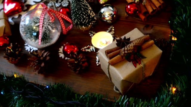 Christmas and New year background with presents, lights, candles and different decorations video