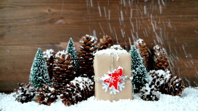 Christmas and New Year background with snow, pine cones, present with red fir tree video