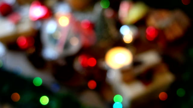 Christmas and New year blurred background with presents, lights, candles and different decorations video