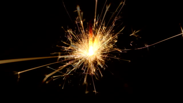 Christmas and newyear party sparkler on black video