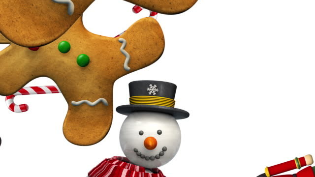 Christmas Animated Characters Concept - 4K Video Christmas Characters - Gingerbread Man, Nutcracker, Snowman and Elf  Animation. Festive Seamless Looping 4K High Definition Video. Discover Other Christmas Animated Characters in My Portfolio. gingerbread man stock videos & royalty-free footage