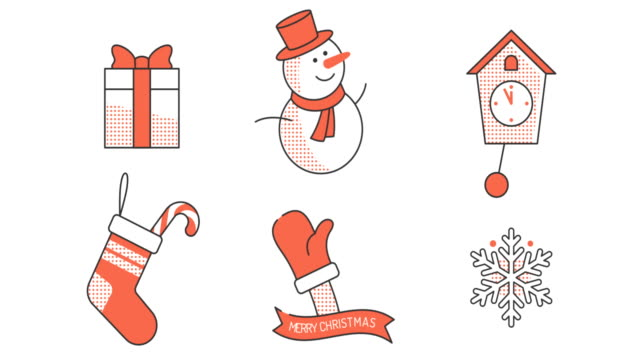 Christmas animated icons in retro style