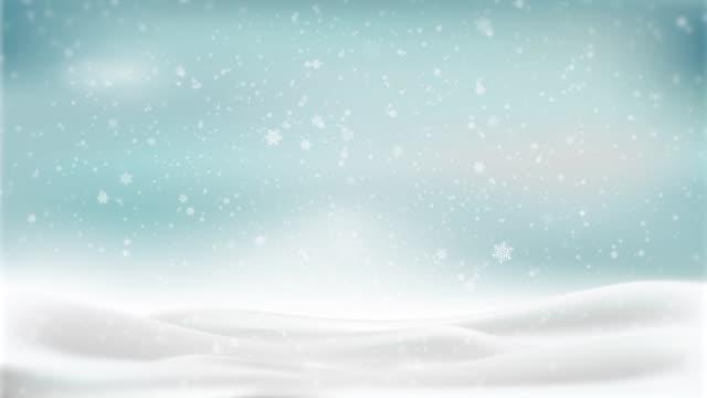 vídeos y material grabado en eventos de stock de gráficos de movimiento de fondo de animación navideña (tema azul), con bokeh brillante, copos de nieve partículas y luces brillantes. - nieve amontonada
