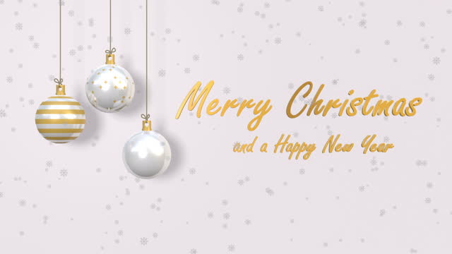 Christmas animation e-card with merry christmas and happy new year wishes. White and Gold version
