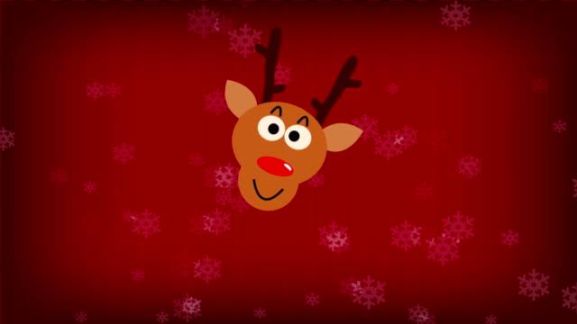Christmas animation with gift,deer smile,snowflake,santa and tree video