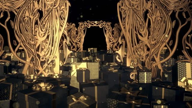 クリスマスアートヌーボーギフトボックス - 美術館点の映像素材/bロール