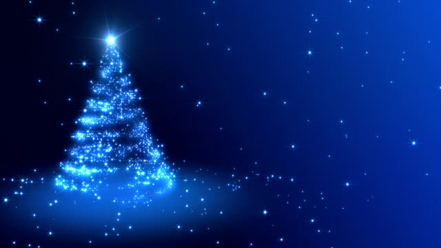 christmas background blue - christmas tree stok videoları ve detay görüntü çekimi