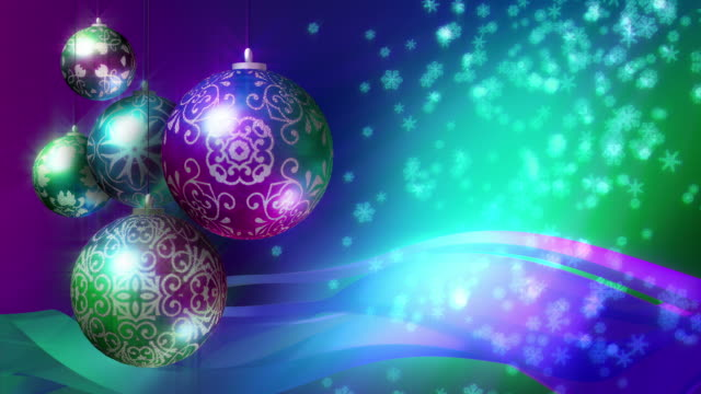 Christmas Background in blue, green, pink and purple. Loopable. video