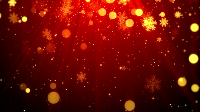 vídeos de stock e filmes b-roll de christmas background motion graphics footage (red theme), with the glittering particles snowflake falling and shine lights - feriado