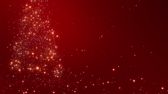 Christmas background with bright snow. COPY SPACE. Loopable. Red video
