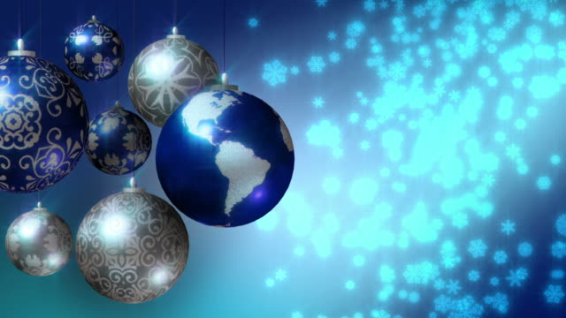 Christmas background with Earth as Xmas bauble video