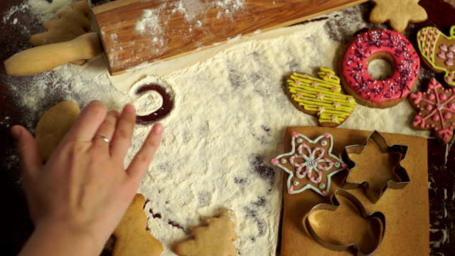 Christmas baking background. The girl writes on a table 2018 video